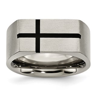 Chisel Titanium  Black Enamel Cross Brushed Band