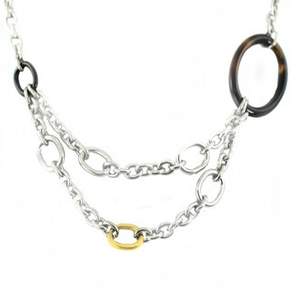 One-of-a-kind Michael Valitutti Cubic Zirconia, Tigers Eye and Black Onyx Cable Chain Necklace