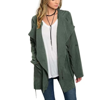 JED Women's Polyester Oversized Drawstring Hooded Anorak Utility Jacket