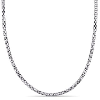 'Popcorn' Link Necklace in 18k White Gold by Miadora