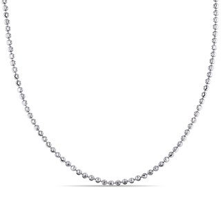 Fancy Diamond-Cut Ball Necklace in 18k White Gold by Miadora