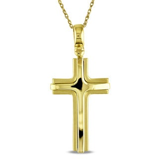 Cross Necklace in Polished 18k Yellow Gold by Miadora