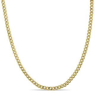Men's Flat Curb Linked Chain Necklace in 10k Yellow Gold by Miadora