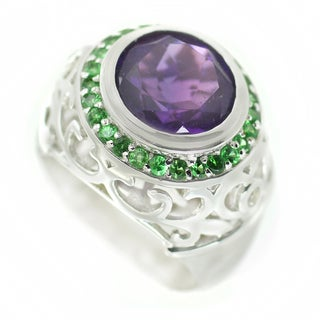 One-of-a-kind Dallas Prince Amethyst with Tsavorite and White Sapphire Cocktail Ring