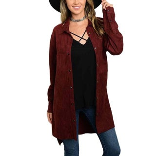 JED Women's Red/Brown Polyester Long-sleeved Vegan Suede Boyfriend Overshirt