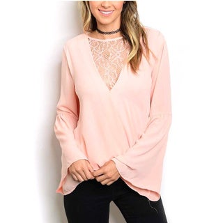 JED Women's Pink/Ivory Chiffon/Lace Bell-sleeve Top