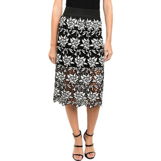 JED Women's Laser Cut Floral Knee-length Skirt