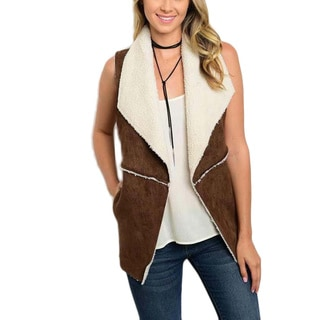 JED Women's Brown Vegan Suede/Shearling Sleeveless Jacket Vest