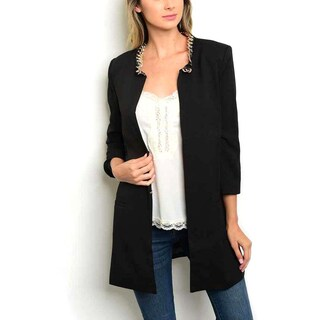 JED Women's Quarter-sleeve Blazer with Chain-detailed Neckline