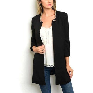 JED Women's Quarter-sleeve Blazer with Chain-detailed Neckline (Option: S)