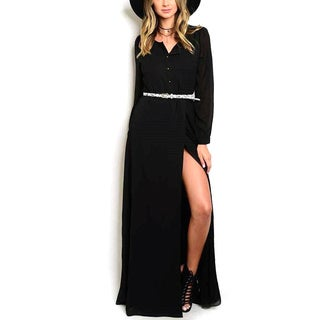 JED Women's Long-sleeve High-slit Belted Maxi Dress