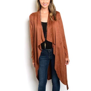 JED Women's Vegan Suede Long-sleeve Vegan Waist-tie Waterfall Cardigan