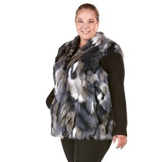 Nuage Patchwork Faux Fur Plus Size Vest