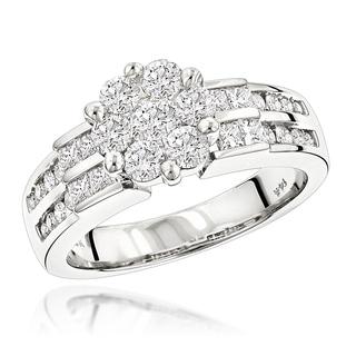 Luxurman 14k White Gold 1 5/8ct TDW Diamond Engagement Ring (G-H, SI1-SI2)