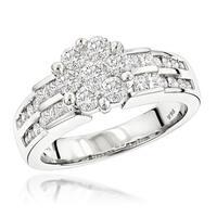 Luxurman 14k White Gold 1 5/8ct TDW Diamond Engagement Ring
