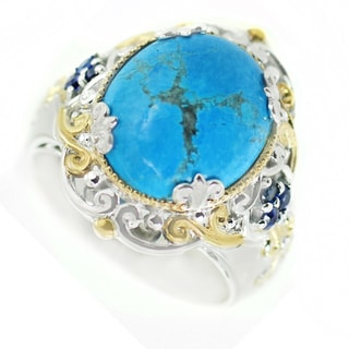 One-of-a-kind Michael Valitutti Cabochon Howlite with Round Blue Sapphire Cocktail Ring