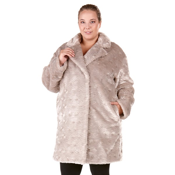 228b2c1fcbbf2 Shop Rosaline Plus Size Faux-fur Coat - On Sale - Free Shipping ...