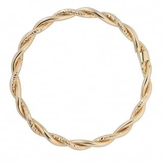 Fremada Italian 14k Gold Diamond-cut and High Polish Intertwined Slip-On Bangle Bracelet (Yellow Gold – Yellow)