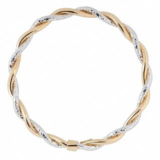 Fremada Italian 14k Gold Diamond-cut and High Polish Intertwined Slip-On Bangle Bracelet (Two-Tone Gold – Two-Tone)