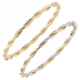 Fremada Italian 14k Gold Diamond-cut and High Polish Intertwined Slip-On Bangle Bracelet