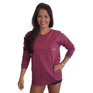 Mason Jar Collection Women's Raspberry Cotton Long-sleeve Pocket T-shirt