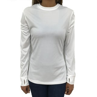 Narragansett Traders Women's White Polyester Long-sleeve Crewneck Active Top