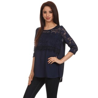 Women's Duo Fabric Crochet Top
