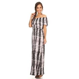 Women's Tie Dye Rayon/Spandex Ruffled Dress