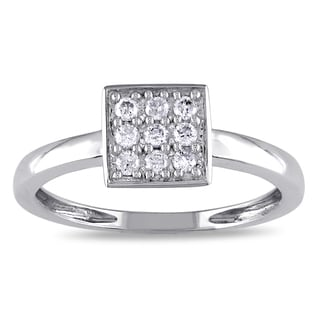 Miadora 10k White Gold 1/8ct TDW Diamond Square Vintage Ring