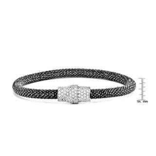 Black over Silver Mesh 7.25-inch Magnetic Clasp Bracelet