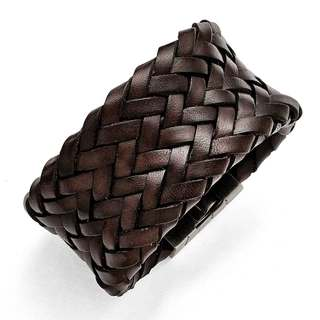 Stainless Steel Brushed Brown Italian Woven Leather Bracelet