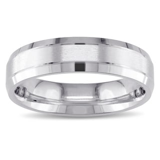 Men's Brushed Finish Wedding Band in 14k White Gold by The Miadora Signature Collection