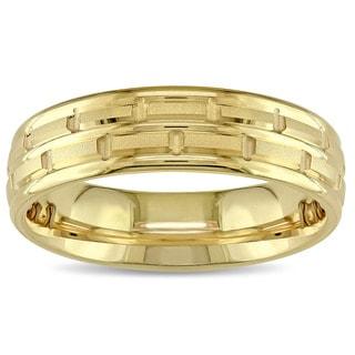 Men's Chain Link Design Wedding Band in 14k Yellow Gold
