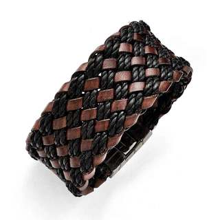 Chisel Stainless Steel Brushed Black and Brown Italian Woven Leather Bracelet
