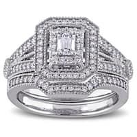 Miadora Signature Collection 14k White Gold 1 3/4ct TDW Emerald and Round-cut Diamond Double Halo Br