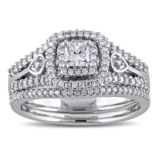 Miadora Signature Collection 3/4ct Diamond Vintage Double Halo Bridal Ring Set in 14k White Gold (G-H, SI1-SI2)
