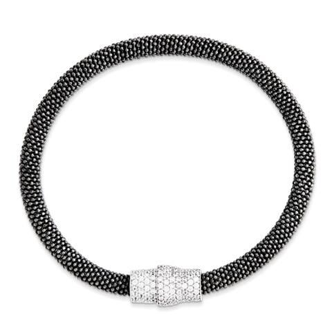 Versil Sterling Silver Black Rhodium Mesh Magnetic Clasp Bracelet