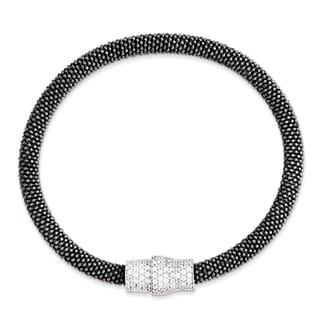 Sterling Silver Black Rhodium Mesh Magnetic Clasp Bracelet