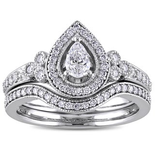 5/8ct TDW Pear and Round-Cut Diamond Halo Bridal Ring Set in 14k White Gold by The Miadora Signature Collection