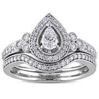 5/8ct TDW Pear and Round-Cut Diamond Halo Bridal Ring Set in 14k White Gold by The Miadora Signature