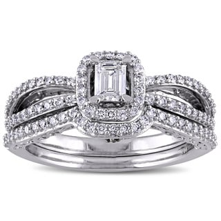 3/4ct TDW Blue and White Diamond Halo Split Shank Bridal Set in 14k White Gold by The Miadora Signature Collection