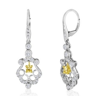18K Gold Dangling Earring with Yellow & White Diamonds