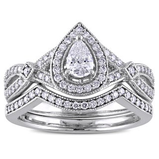 Miadora 5/8 CT TDW Pear and Round-Cut Diamond Vintage infinity Bridal Ring Set in 14k White Gold
