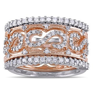 Miadora 2-Tone White and Rose Plated Sterling Silver 5/8ct TDW Diamond Filigree 3-Piece Anniversary