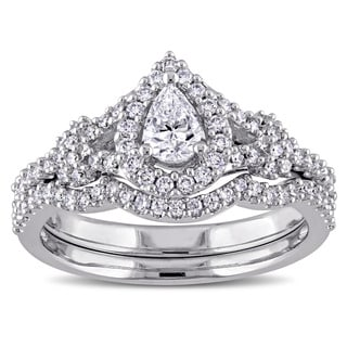 Miadora 7/8ct TDW Pear and Round-Cut Diamond Halo Split Shank Bridal Ring Set in 14k White Goldado