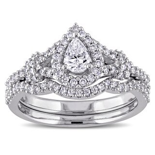 Miadora 7/8ct TDW Pear and Round-Cut Diamond Halo Split Shank Bridal Ring Set in 14k White Goldado