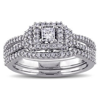 3/4ct TDW Princess and Round-Cut Halo Diamond Bridal Ring Set in 14k White Gold by The Miadora Signature Collection