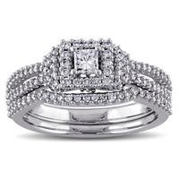 3/4ct TDW Princess and Round-Cut Halo Diamond Bridal Ring Set in 14k White Gold by The Miadora Signa