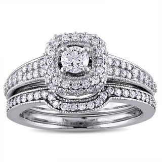 4/5ct TDW Diamond Vintage Halo Bridal Ring Set in 14k White Gold by The Miadora Signature Collection