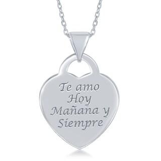 La Preciosa Sterling Silver Flat Spanish Engraved Heart Pendant